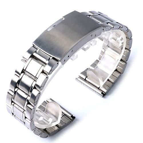 RHBLHQ Banda De Reloj De Plata De Acero Inoxidable De Los Relojes De La Correa De 22mm 20mm Hombres (Size : 22 mm Width)