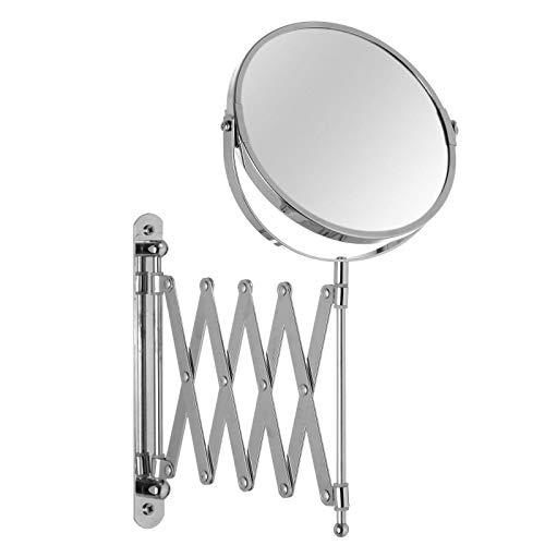 UNIMASA Espejo Pared Baño Extensible, de Aluminio Cromado, con Doble Aumento. Diseño Clásico, con Estilo Bassic - Hogar y Más
