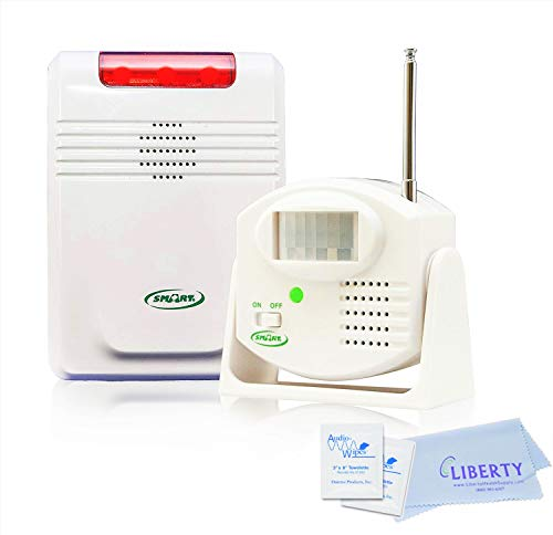 Smart Caregiver Anti-Wandering Motion Sensing System - Wireless Motion Sensor with Remote Alert Monitor (Up to 300 ft). Includes 10 Individual Cleaning Wipes and Liberty Cleaning Cloth