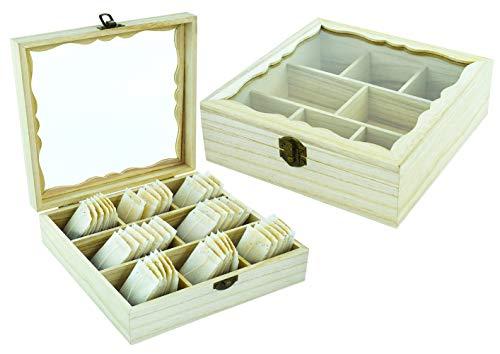 Möbelbörse Teebox aus Holz 8 Fächer Teedose Teekiste Teebeutelbox Teebeutelkiste Echtholz - mit Sichtfenster aus Echtglas