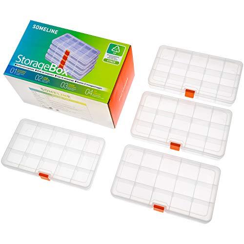 Kunststoff Aufbewahrungsbox Schmuckkasten für Schmuck Perlen Ohrring Zubehötritver Einstellbar Sortimentskasten mit 15 Gitter SOMELINE Klar Plastik Sortierboxen 4 Stück