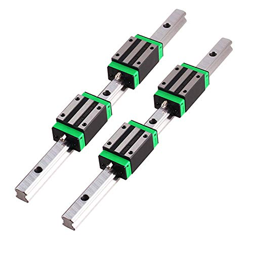 GooEquip Linear Guide 2 Pieces HGR15 1500 mm Linear Rail with 4 Pieces Sliding Block for 3D Printers, CNC Machines, Electrical Devices, Medical Machines