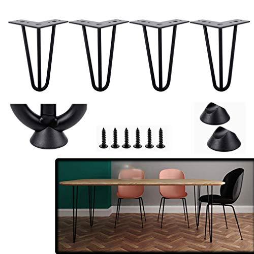DuDu en hardware 4 Patas muebles del paquete, Metal 3-Bar Las piernas de la horquilla de la mesa, bastidor del gabinete, reposapiés, piernas de repuesto, hierro, con tornillos, Negro, 5.9 pulg Altura-