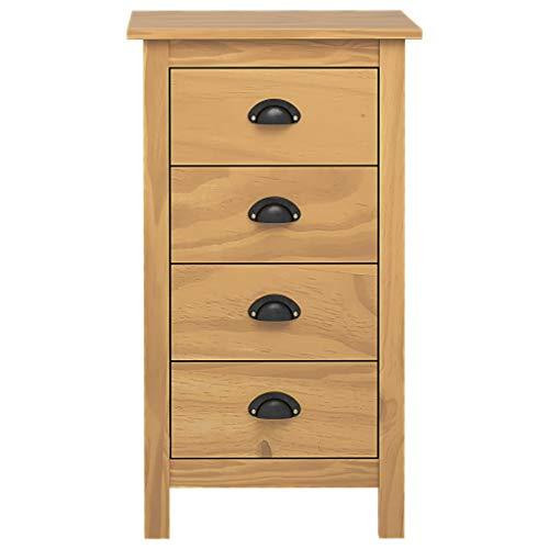 Lechnical Holz Sideboard, Holzschrank für Wohnzimmer, Möbelschrank Freistehender Schrank mit 4 Schubladen, 46x35x80 cm, Honigbraun