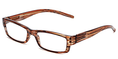 Calabria 757 Reading Glasses w/Striped Designs & Matching Case in Tangerine +4.5
