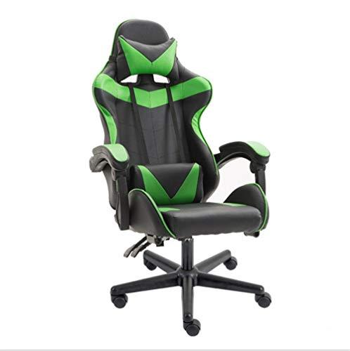 JIEER-C Gamingstoel, ergonomisch, kantelbaar, racestijl, met lendensteun voor massage, bureaustoel, voor computers, stoelen, E-Sport, PU-leer Sans repose-pieds Donkergroen