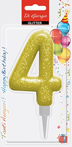 Cereria di Giorgio- Candela di Compleanno Gigante con Glitter Numero 4, 58160_64