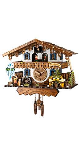 Engstler Reloj cucú de Cuarzo con música Casa de la Selva Negra con Bebedores de Cerveza y Rueda de Molino Que se mueven