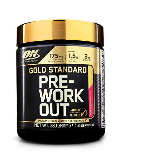 Optimum Nutrition ON Gold Standard pre workout en polvo con creatina monohidrato, beta alanina, cafeína, citrulina y vitamina B, limonada rosa, 30 porciones, 330 g