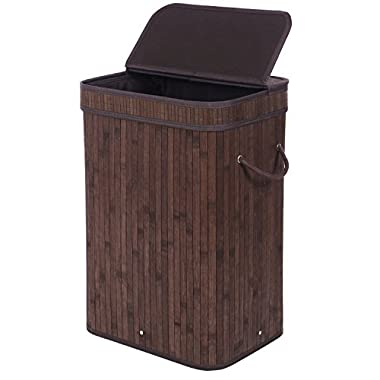 BEWISHOME Bamboo Laundry Basket,laundry hampers with lids, Foldable Dirty Clothes Storage Bin with Double Handles Removable Liner,Rectangular Brown YYL02Z
