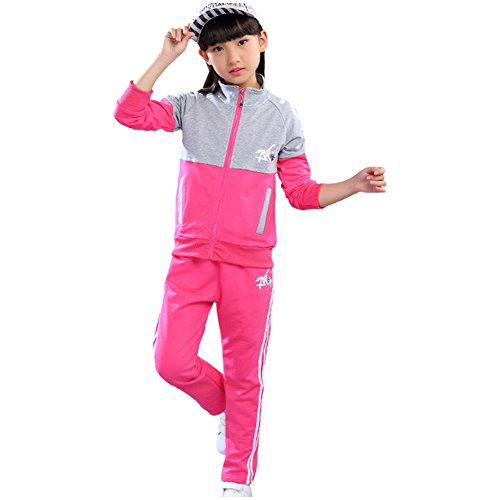 LSHEL Sportanzug Mädchen Trainingsanzug Jacke und Sweathose Sweatjacke Sweatpants Zweiteilig Anzug, Rose Rot, 122/128