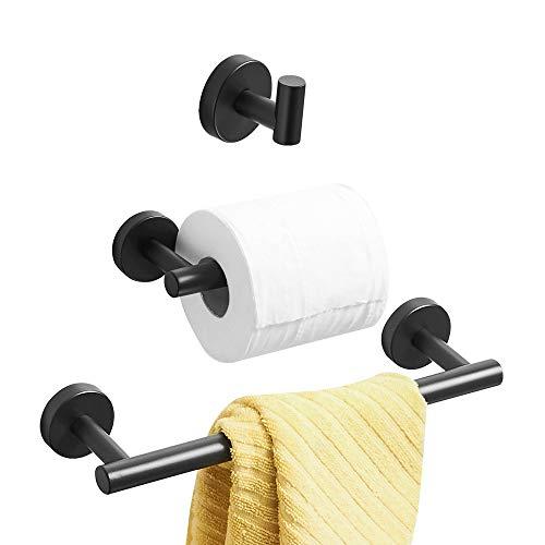 WOMAO Badezimmer Zubehör Set Schwarz Matt Wandmontage Edelstahl Handtuchhalter zum Bohren 3er Set Duschwand Modern Handtuchhaken Klopapierhalter