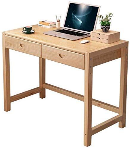 JINHH Tische Schreibtisch Kiefernholz mit 2 Schubladen Home Office Computer Schreibtisch Wohnzimmermöbel Multifunktional (Farbe: Kiefer mit Farbe, Größe: 100x50x75cm)