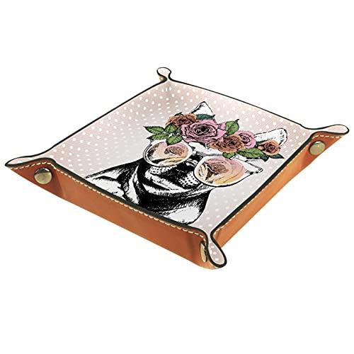 Bandeja plegable de cuero de la PU para el reloj de la joyería de almacenamiento titular de la caja de almacenamiento de la joyería Dibujado a mano perro carlino con flores en la cabeza 16x16cm