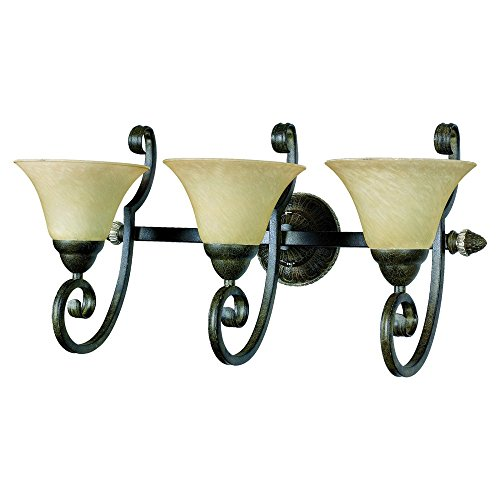 Yosemite Home Décor F053B03LTSPLS Mariposa Collection Three Light Vanity, Light Tuscan Sand