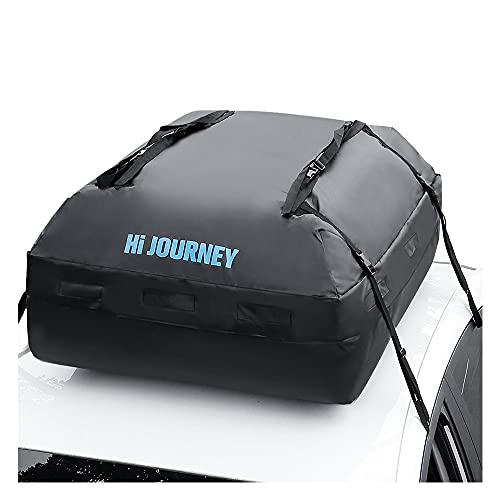 rabbitgoo Sac de Toit de Voiture, Coffre de Toit de Voiture Noir, Coffre de Toit Souple Anti Pluie, Valise de Toit Etanche Impermeable Idéal pour Voyager, Les Vacances, Camping, Dimension 112x86x43cm