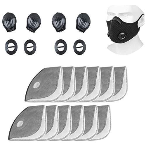 12 filtros de repuesto de carbón activo + 4 válvulas de respiración, reutilizables, transpirables, filtro de polvo PM 2.5 para bicicleta, deporte, máscara de protección respiratoria (12PCS)