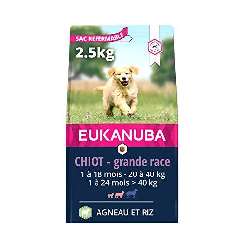 Eukanuba - Croquettes Riches en Agneau et Riz pour Chiots Grande Race - Digestion sensible - DHA et Calcium - Favorise la Croissance - Sans OGM, conservateur, arômes artificiels - 2,5 kg
