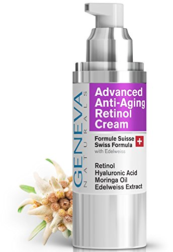 Night Retinol Cream - Natural Swiss Anti-Aging Formula Features Retinol, Hyaluronic Acid, Coconut Oil, Moringa Oil, Vitamin E For Men & Women (1 Bottle)