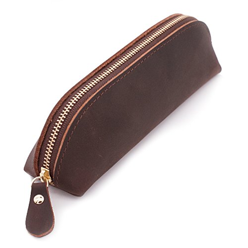 Collasaro Small Leather Pencil Case for Men Women Zippered Pen Pouch Stationery Holder Cosmetic Bag (Coffee)