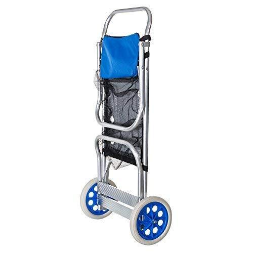 SOLENNY - Carro Portasillas Playa Plegable Convertible en Mesa Aluminio Inoxidable y Textilene Azul con Ruedas, Red y Bolsillo Para un Máximo de 5 Sillas