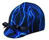 Equestrian Riding Helmet Cover - Blue Lightening