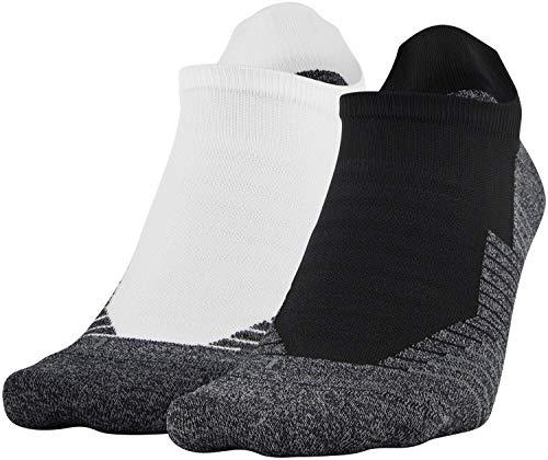 Under Armour Adult Run No Show Tab Socks, 2-Pairs , White/Black , Shoe Size: Men 8-12; Women: 9-12