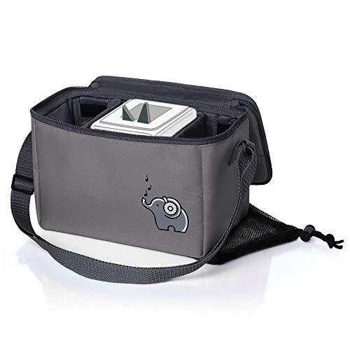 Musikbox-Tasche für Hörwürfel (z.B. Toniebox und Tigerbox Touch)   Verstellbare Innenfächer   Netzbeutel für Zubehör (z.B. 10 Hörfiguren oder SD-Karten)   elefantengrau