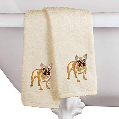 Collections Etc Dogs Embroidered Cotton Hand Towels Set of 2 - Detailed Stitch Work, French Bulldog