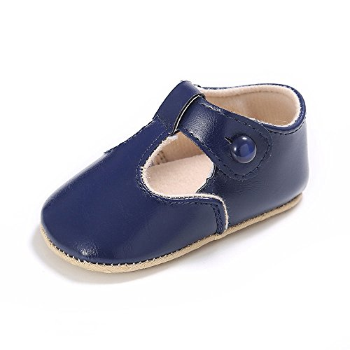 Enteer Baby Girls' Retro Leather Button Mary Jane Shoes Navy US 3