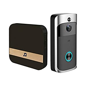 GAKOV GAB10 170 grados HD Timbre inal/ámbrico inteligente con c/ámara Timbre con video WiFi visi/ón nocturna y detecci/ón de movimiento PIR
