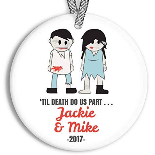 Lplpol Til Death Do Us Part Weihnachts-Ornament Zombie-Paar, personalisierbar, Porzellan für Brautpaare