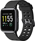Play PLAYFIT SW75 Full Touch Smartwatch with 24-Hour Health Monitoring, up to 15 Days Battery Life, and Social Notifications (Black)