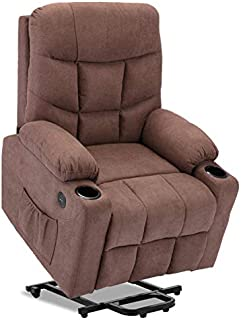 DEVAISE Power Lift Massage Recliner Chair with Heat and Vibration for Elderly, Elastron Fabric Living Room Sofa Chair with Remote Control, USB Charge Port and Cup Holders, Brown