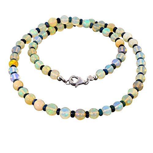 Gemshiner Natural Ethiopian Opal and Black Opal Bead Necklace, Welo Fire Natural Opal Bead Necklace for Her Gemstone Necklaces for Women Necklace for Women Gemstone Jewelry Necklace for mom