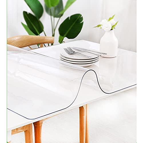 Cubierta De Mesa 2 Mm Grosor,Mantel De PVC Impermeable,Almohadilla Protectora Transparente,manteles para Interiores y Exteriores,Cocina,Escritorio,60x120cm/23.6 * 47in,80x120cm/31.5 * 47.2in