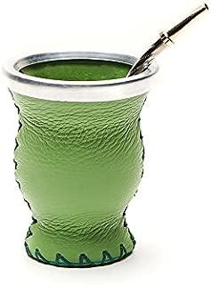 BALIBETOV [NEW] Leather & Glass Yerba Mate Gourd set (Mate cup) with Yerba Mate Bombilla (straw) (GREEN)