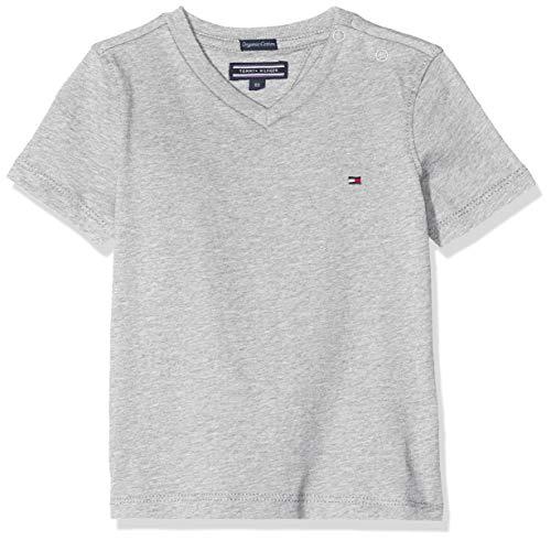 Tommy Hilfiger Jungen Boys Basic Vn Knit S/S T-Shirt, Grau (Grey Heather 004), 164 (Herstellergröße: 14)