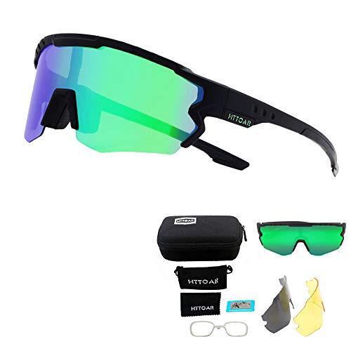 HTTOAR Polarisierte Sport-Sonnenbrille UV400 Schutz Fahrradbrille 3 Linsen, Radfahren, Baseball, Fischen, Skilaufen… (black) (Schwarz grün)