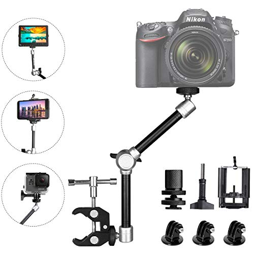 11' Adjustable Robust Articulating Friction Magic Arm , DSLR / Mirrorless / Action Camera / Camcorder / Smartphone / LCD Monitor Video Vlog Rig w/ Clamp Holder Mounts Kit fit for GoPro iPhone Arlo etc