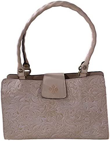 PATRICIA NASH WOMEN S WHITE WAXED TOOLED COLLECTION RIENZO NATURAL WHITE LEATHER SATCHEL HANDBAG product image
