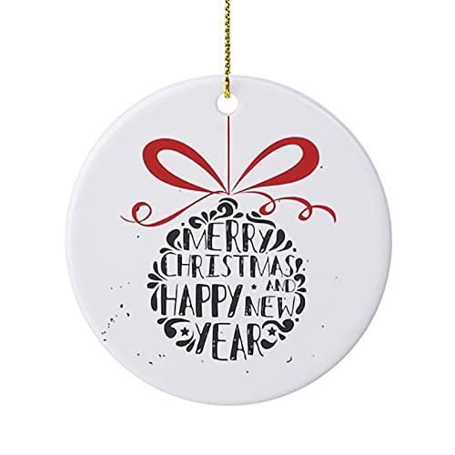 Adorno de árbol de Navidad con mensaje tipográfico, para decoración familiar para el hogar, interior y exterior de 3 pulgadas