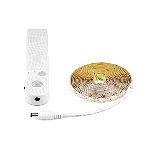LED motion sensor waterproof light belt,Sensor de movimiento LED Cinturón de luz impermeable para escaleras, Pasillo, Armario, Baño, Cocina (Blanco frio, 3 metros)
