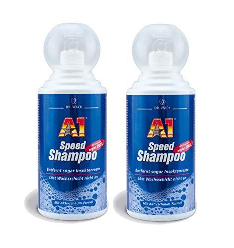ILODA 2X 500ml Dr. Wack A1 Speed Shampoo, Autoshampoo Konzentrat, Autowaschmittel mit Aktivschaum biologisch abbaubar, löst schonend auch Insektenreste und Bienenkot
