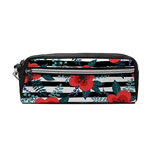 Bloemen Patroon met Rode Bloemen Planten Tranches PU Lederen Potlood Case Make-up Bag Cosmetische Tas Potlood Pouch met Rits Reizen Toilettas voor Vrouwen Meisjes