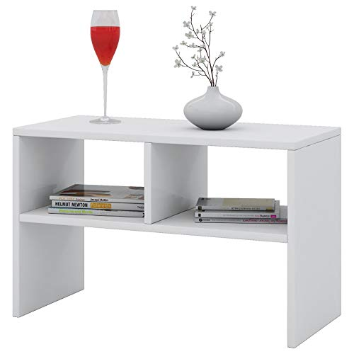 VCM Tisch Sofatisch Beistelltisch Couchtisch Wohnzimmertisch Kaffeetisch Nachttisch Weiß 45 x 60 x 40 cm