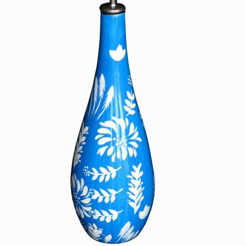 Bouteille d'huile en porcelaine laquée brillante avec bec verseur décoré dans le design « Bluflo » pour habiller la table de cuisine et la table de salle à manger.