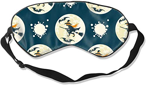 Geen druk Verstelbaar Oogmasker, Comfortabele Lichtgewicht Zijde Slaap Masker, Blinddoek Oogdeksel voor Slapen Shift Werk Naps Reizen Oogschaduw (Witches Drive Stick Patronen)
