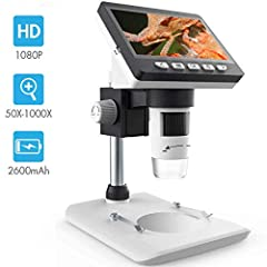 ☁【4.3 inch LCD Screen】: Amazing images and videos showing on 4.3 inch large screen. The Home Microscope has magnification levels of 50x to 1000x, which are standard on the best-quality microscopes. Its smoothly-rotating head makes it easy to working ...
