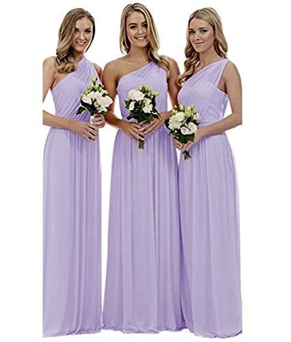 Homdor One Shoulder Ruched Bridesmaid Dresses A-line Long Chiffon Wedding Guests Gowns for Women Lavender Size 8